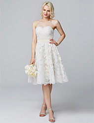 cheap -A-Line Sweetheart Neckline Knee Length Lace Over Satin Bridesmaid Dress with Buttons / Lace by LAN TING BRIDE®