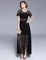 baratos -Mulheres Vintage / Sofisticado balanço Vestido - Renda / Fenda, Sólido Longo