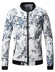 Недорогие -Муж. Большие размеры Куртка Воротник-стойка Цветочные / ботанический, Хлопок / Длинный рукав