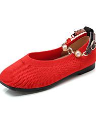 abordables -Chica Zapatos Punto Primavera verano Confort Bailarinas Paseo Perla de Imitación para Adolescente Negro / Beige / Rojo