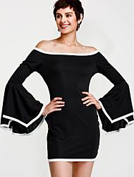 Недорогие -Жен. На выход Вспышка рукава Оболочка Платье - Контрастных цветов Вырез лодочкой Ассиметричное Черный