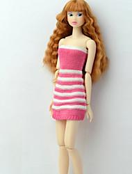 Недорогие -Платье куклы Платья Для Barbie Полосы / волосы Разные цвета Розовый Плетеные изделия Полиэстер Акриловые волокна Платье Для Девичий игрушки куклы