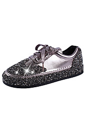 cheap -Women's Shoes PU(Polyurethane) Spring & Summer Comfort Sneakers Walking Shoes Flat Heel Round Toe Sparkling Glitter Black / Silver / Champagne