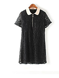 cheap -Women's Basic / Chinoiserie A Line Dress - Solid Colored Lace / Cut Out