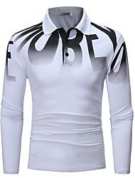 Недорогие -Муж. Polo Хлопок, Рубашечный воротник Буквы / Пожалуйста, выбирайте изделие на размер больше вашего обычного размера / Длинный рукав