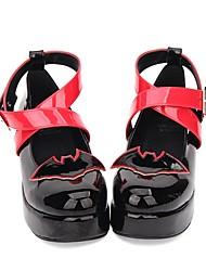 cheap -Lolita Shoes Classic Lolita Dress Punk Lolita Dress Wedge Heel Shoes Stitching Lace 5 cm CM Black For PU(Polyurethane) Halloween Costumes