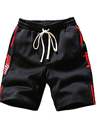 povoljno -muške plus veličine pamuka labav chinos / kratke hlače - slovo / geometrijski
