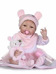 Недорогие -NPKCOLLECTION NPK DOLL Куклы реборн Дети 24 дюймовый Силикон - Новорожденный Безопасно для детей Non Toxic / Искусственные имплантации Голубые глаза / Искусственная имплантация Коричневые глаза