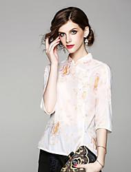 baratos -Mulheres Blusa Vintage Bordado, Floral