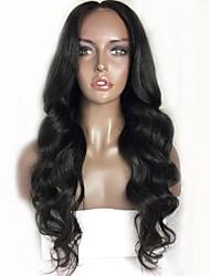 Недорогие -Remy Лента спереди Парик Бразильские волосы / Естественные кудри Волнистый Парик Стрижка каскад 130% С детскими волосами / Природные волосы / Для темнокожих женщин Черный Жен.