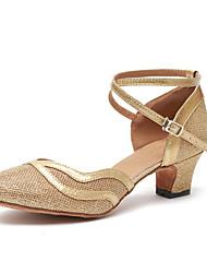 abordables -Femme Chaussures Modernes Cuir Verni Talon Volants Talon Cubain Chaussures de danse Or / Marron