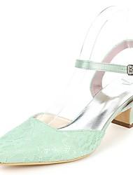 baratos -Mulheres Sapatos Cetim Primavera Verão Plataforma Básica Sapatos De Casamento Salto de bloco Ponta quadrada Presilha Verde / Azul / Ivory / Festas & Noite