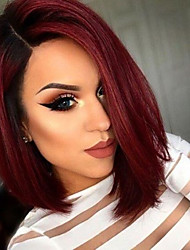 cheap -Synthetic Wig / Synthetic Lace Front Wig Straight Short Bob / Middle Part Synthetic Hair Adjustable / Heat Resistant / Ombre Hair Black / Burgundy Wig Women's Short Lace Front Wig / Yes