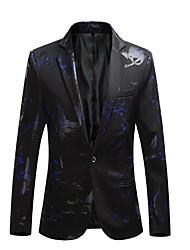 cheap -Men's Plus Size Blazer-Color Block Peaked Lapel / Long Sleeve