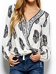 Недорогие -Жен. Рубашка V-образный вырез Цветочный принт