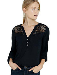 baratos -Mulheres Blusa - Para Noite Sólido Algodão Decote V