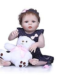 Недорогие -NPKCOLLECTION Куклы реборн Девочки 24 дюймовый Полный силикон для тела Винил - как живой Искусственные имплантации Голубые глаза Детские Девочки Игрушки Подарок