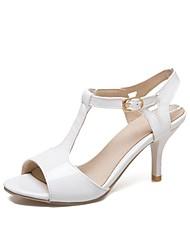preiswerte -Damen Schuhe Kunstleder Frühling Sommer T-Riemen Sandalen Stöckelabsatz Peep Toe Weiß / Schwarz / Leicht Rosa / Party & Festivität