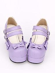 cheap -Sweet Lolita Dress / Classic Lolita Dress Princess Lolita Chunky Heel Shoes Solid Colored / Bowknot 7.5 cm CM Purple For PU(Polyurethane)