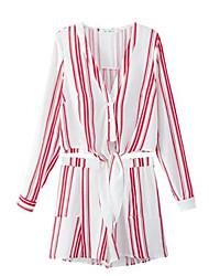お買い得  -女性用 ベーシック シャツ - プリント, ストライプ パンツ