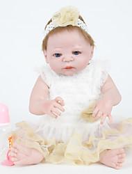 povoljno -FeelWind Autentične bebe Za ženske bebe 22 inch Cijeli silikon tijela - vjeran, Umjetna implantacija Plave oči Dječjom Djevojčice Poklon