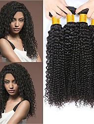 cheap -Indian Hair Curly Natural Color Hair Weaves / Human Hair Extensions 4 Bundles 8-28 inch Human Hair Weaves Capless Fashionable Design / Best Quality / For Black Women Natural Black Human Hair