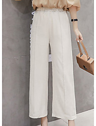 cheap -women's loose wide leg pants - solid colored high waist