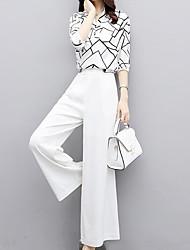 abordables -Mujer Chic de Calle / Sofisticado Conjunto - Un Color / Geométrico Pantalón