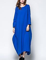 abordables -Femme Vacances / Sortie simple / Chic de Rue Ample Tunique Robe Couleur Pleine Taille haute Maxi / Printemps / Eté