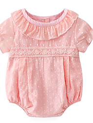 cheap -Baby Girls' Basic Solid Colored Lace Short Sleeves Cotton Bodysuit