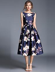 economico -Per donna Vintage / Moda città Linea A Vestito - Con stampe, Fantasia floreale Medio