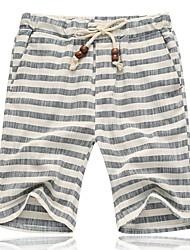 economico -Per uomo Taglie forti Cotone / Lino Taglia piccola Pantaloncini Pantaloni - A strisce