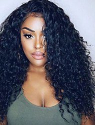 cheap -Remy Human Hair Lace Front Wig Brazilian Hair Curly Wig Layered Haircut 180% With Baby Hair / Natural Hairline Black Women's Long Human Hair Lace Wig