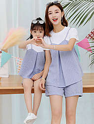 cheap -Adults Family Look Striped Short Sleeve Clothing Set