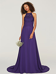 cheap -A-Line Jewel Neck Sweep / Brush Train Chiffon / Lace Bridesmaid Dress with Lace / Ruching by LAN TING BRIDE® / Beautiful Back