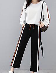 cheap -Women's Plus Size Active Flare Sleeve Cotton T-shirt / Set - Striped Pant / Fine Stripe