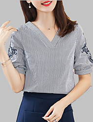 cheap -Women's Shirt - Solid Colored / Striped Embroidered