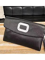 baratos -unisex sacos de couro napa pulseira zíper preto