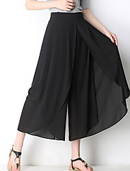 cheap -Women's Basic Wide Leg Pants - Solid Colored Black & Red, Tassel