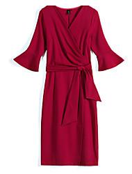cheap -women's a line dress knee-length v neck