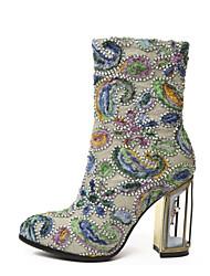 Недорогие -Жен. Обувь Синтетика Наступила зима Удобная обувь / Модная обувь Ботинки На толстом каблуке Сапоги до середины икры Пурпурный / Светло-Зеленый