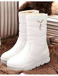 Недорогие -Жен. Обувь Полиуретан Зима Удобная обувь / Зимние сапоги Ботинки На низком каблуке Сапоги до середины икры Белый / Черный / Бежевый