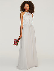 cheap -A-Line Halter Neck Floor Length Chiffon / Lace Bridesmaid Dress with Lace / Pleats by LAN TING BRIDE® / Beautiful Back
