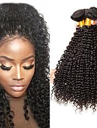 Недорогие -3 Связки Бразильские волосы Кудрявый Натуральные волосы Накладки из натуральных волос 8-28 дюймовый Ткет человеческих волос Машинное плетение Мягкость / Удлинитель / Лучшее качество