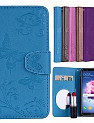 Недорогие -Кейс для Назначение Huawei P smart Бумажник для карт / Флип / С узором Чехол Однотонный / Бабочка Твердый Кожа PU для P smart