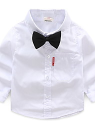 Недорогие -Дети Мальчики Классический Повседневные Однотонный Длинный рукав Обычный Хлопок Рубашка Белый