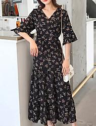 abordables -Femme Basique Maxi Mince Balançoire Robe - Imprimé, Fleur Taille haute Col en V Eté Noir Marron clair XS S M Demi Manches