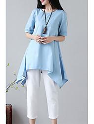 baratos -roupa de mulher / conjunto de algodão - gola redonda de cor sólida