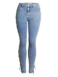 cheap -Women's Slim Jeans Pants - Solid Colored High Waist