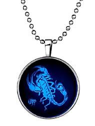baratos -Homens Pedra Luminosa Longas Colares com Pendentes - Escorpião Fashion Azul 60 cm Colar 1pç Para Halloween, Bandagem